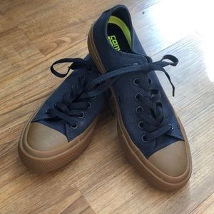 Converse all star navy and brown gum sole
